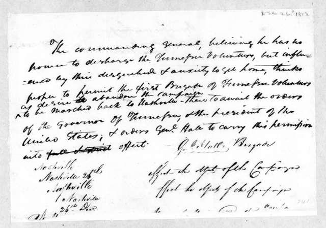 G. Hall, December 26, 1813