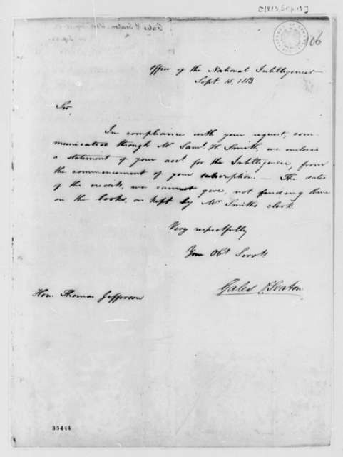 Gales & Seaton to Thomas Jefferson, September 15, 1813