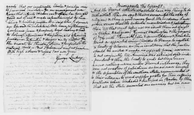 George Luckey to James Madison, April 25, 1813. With sketch of Napolean Buonaparte.