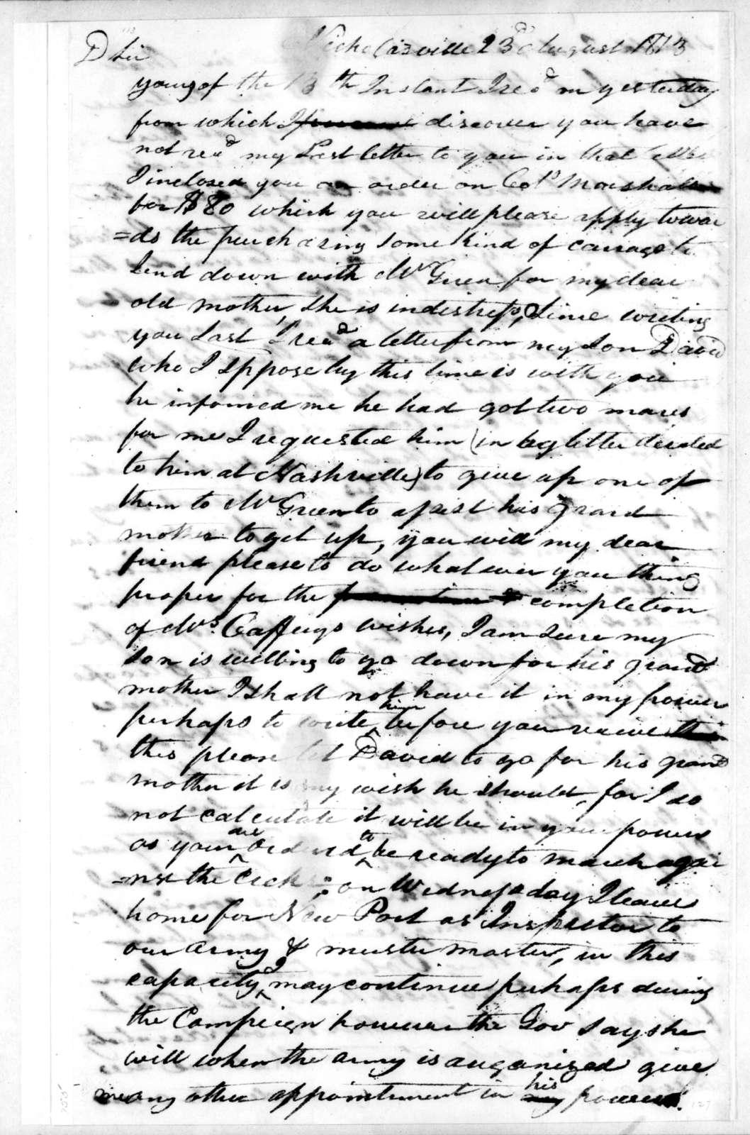 George Walker to Andrew Jackson, August 23, 1813