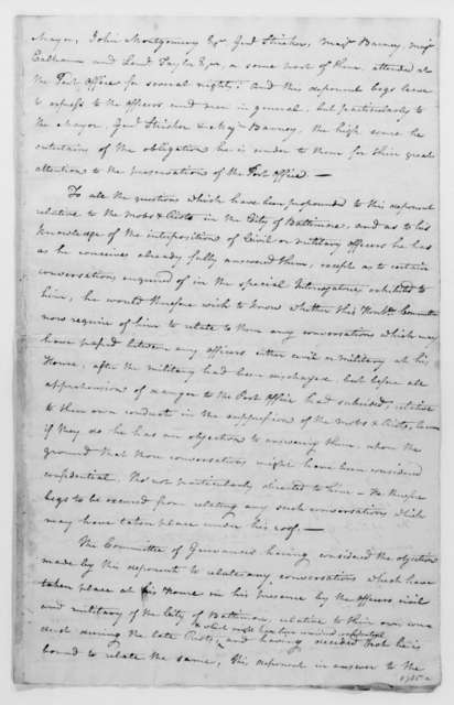 Gideon Granger to James Madison, January 13, 1813. Includes a deposition, signed by Charles Burrall.