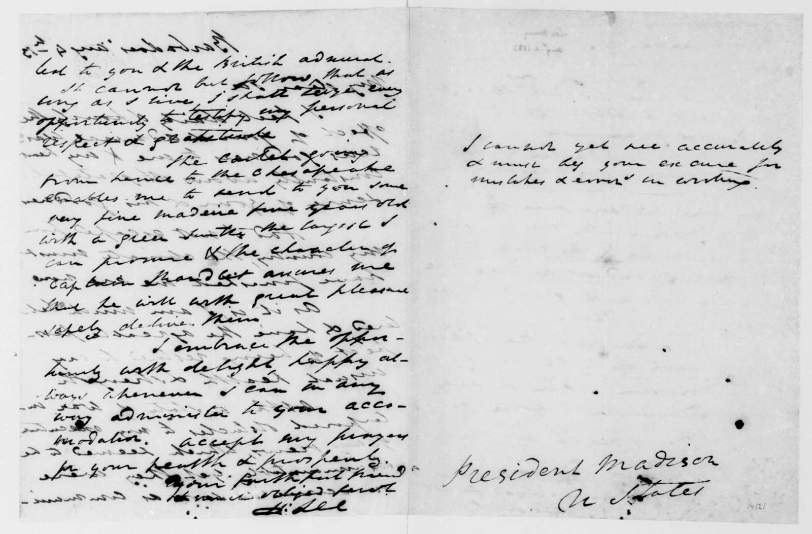 Henry Lee to James Madison, August 4, 1813.