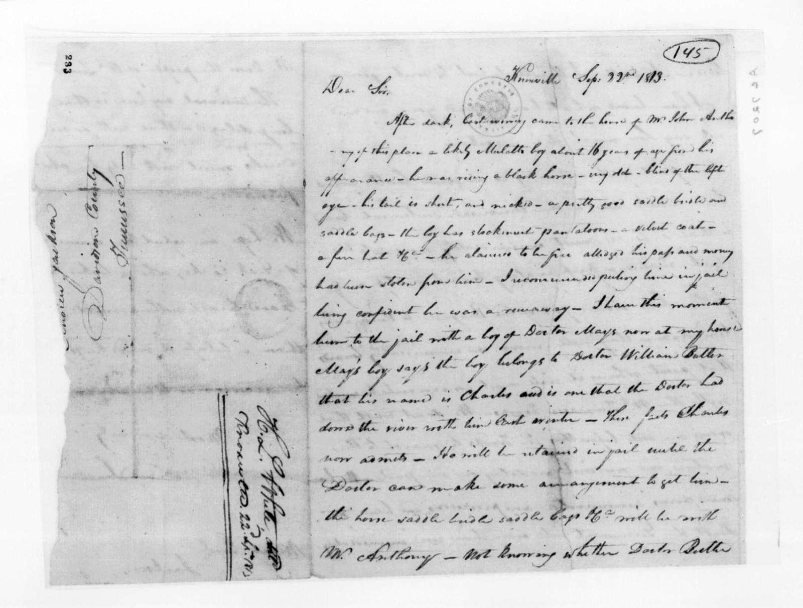 Hugh Lawson White to Andrew Jackson, September 22, 1813