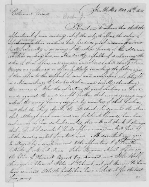 Jacob Barker to James Madison, August 13, 1813.