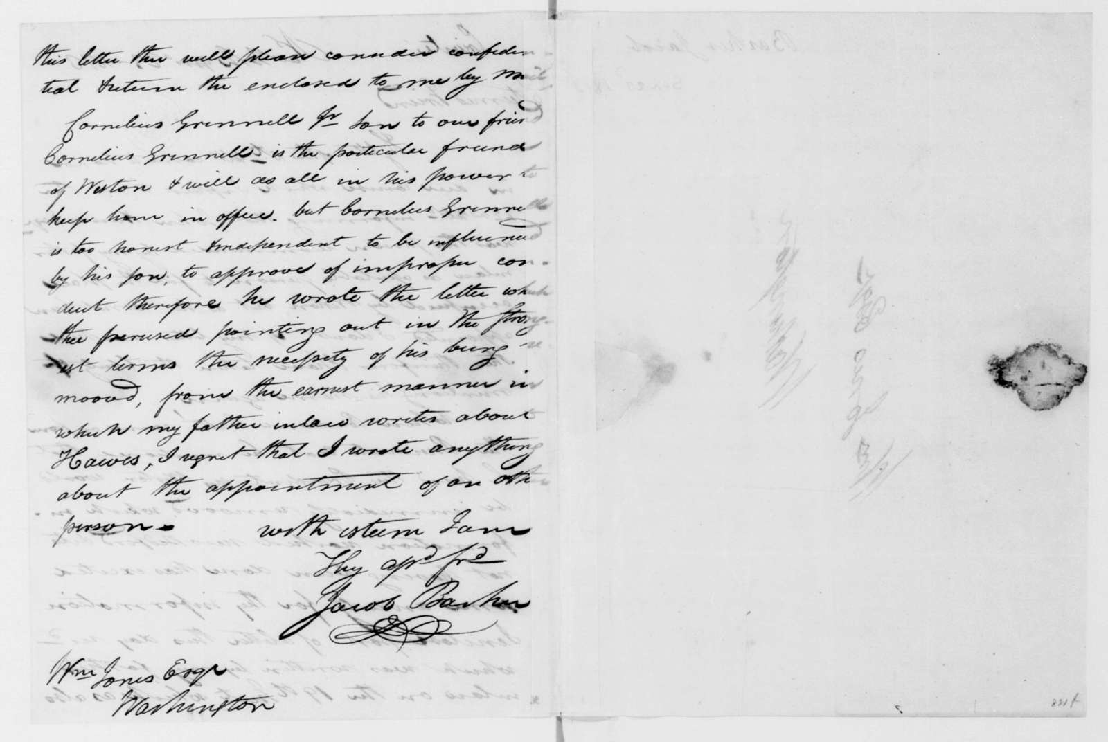 Jacob Barker to William Jones, September 23, 1813.