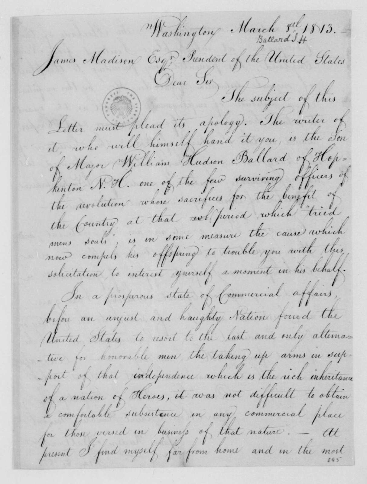 Jamea Hudson Ballard to James Madison, March 8, 1813.