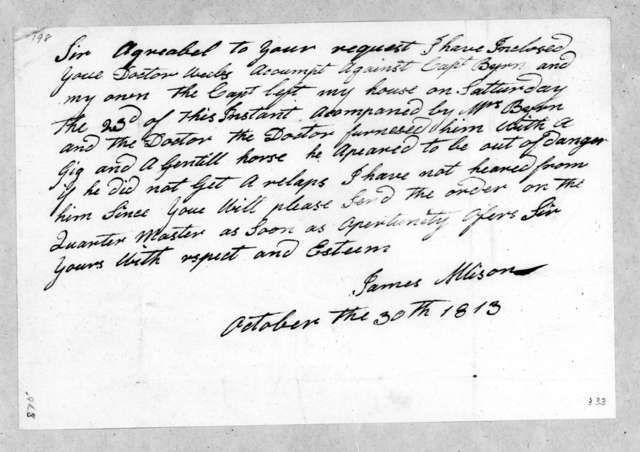 James Allison to Andrew Jackson, October 30, 1813