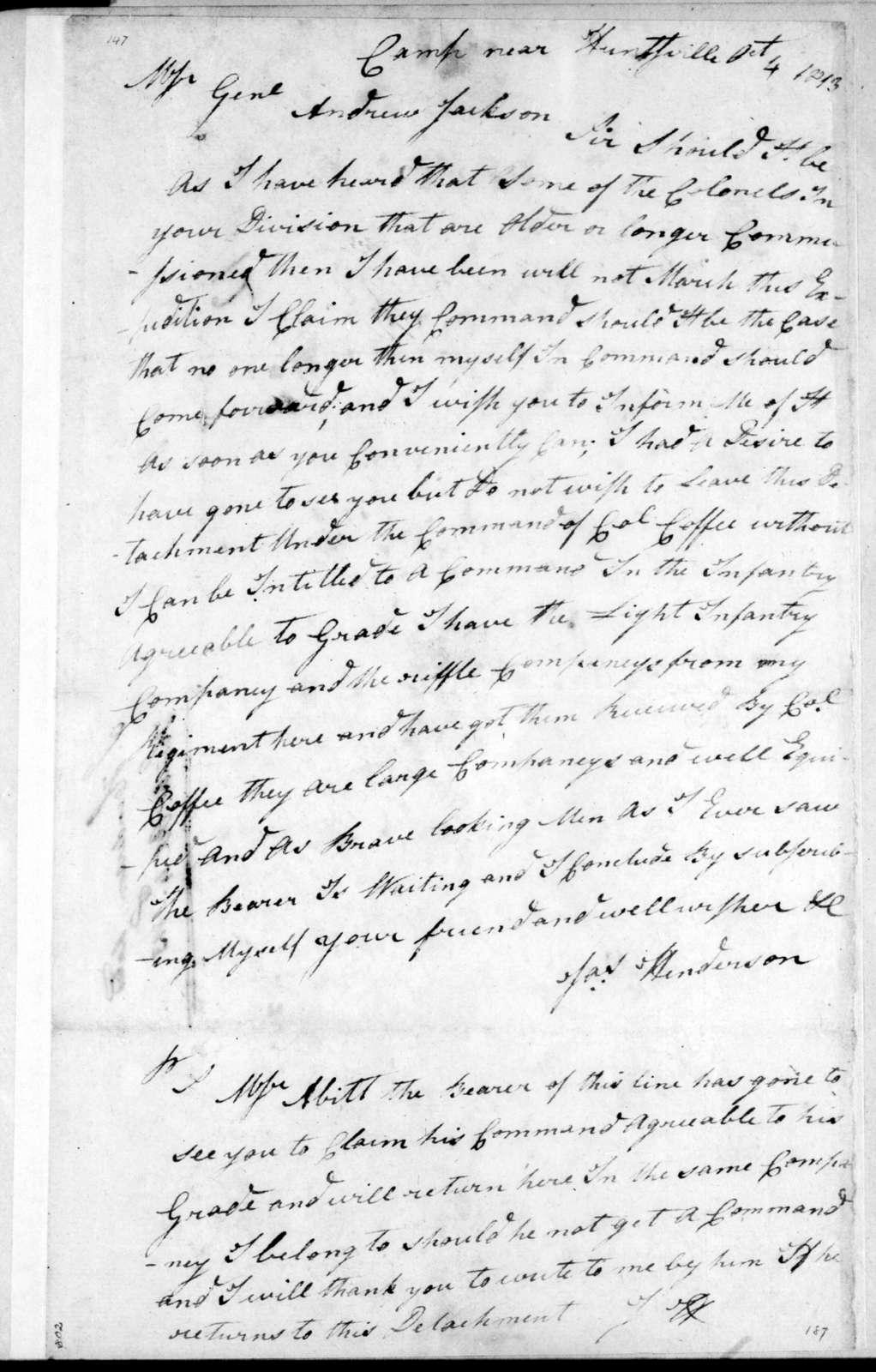 James Henderson to Andrew Jackson, October 4, 1813