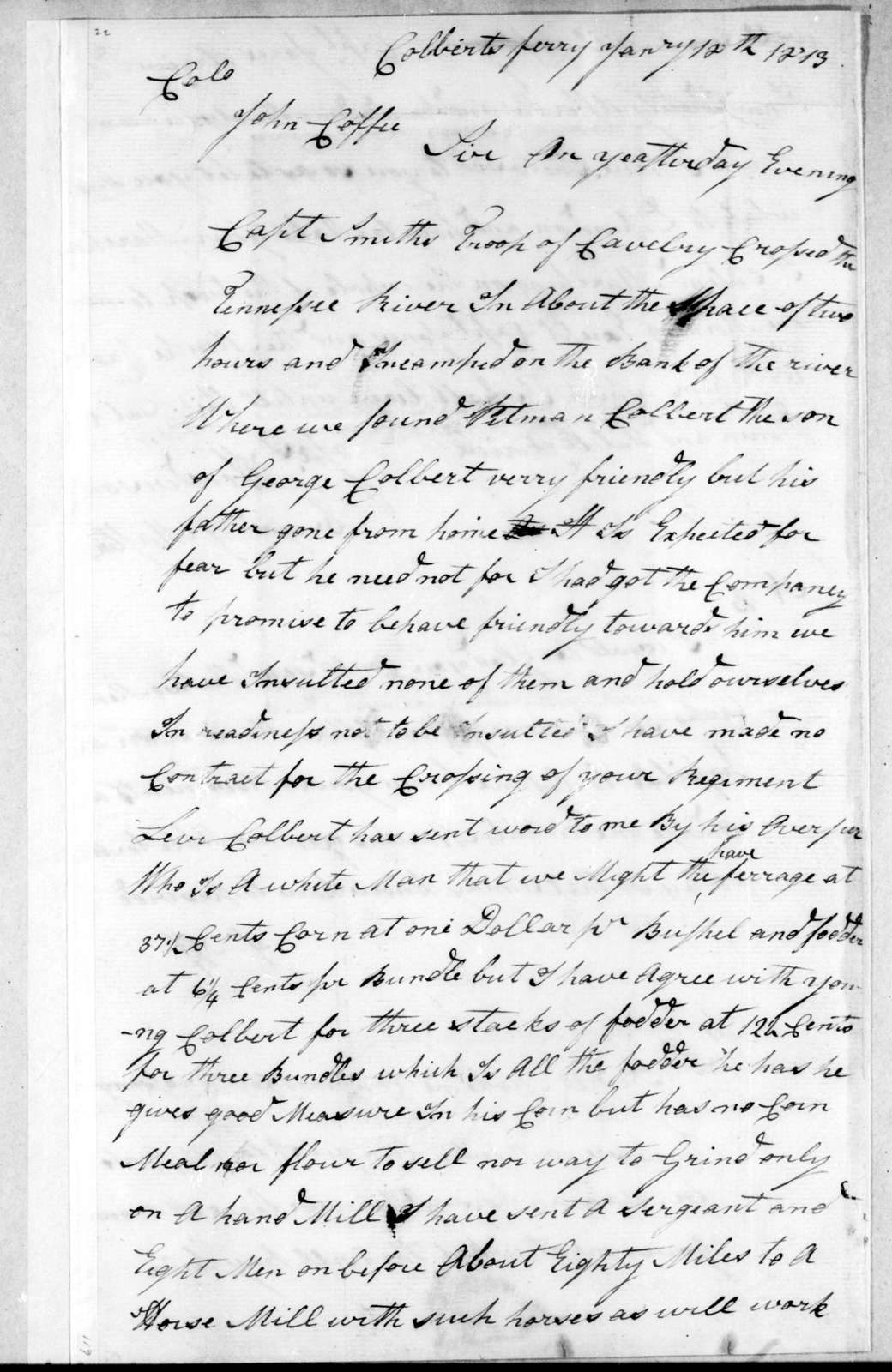 James Henderson to John Coffee, January 12, 1813