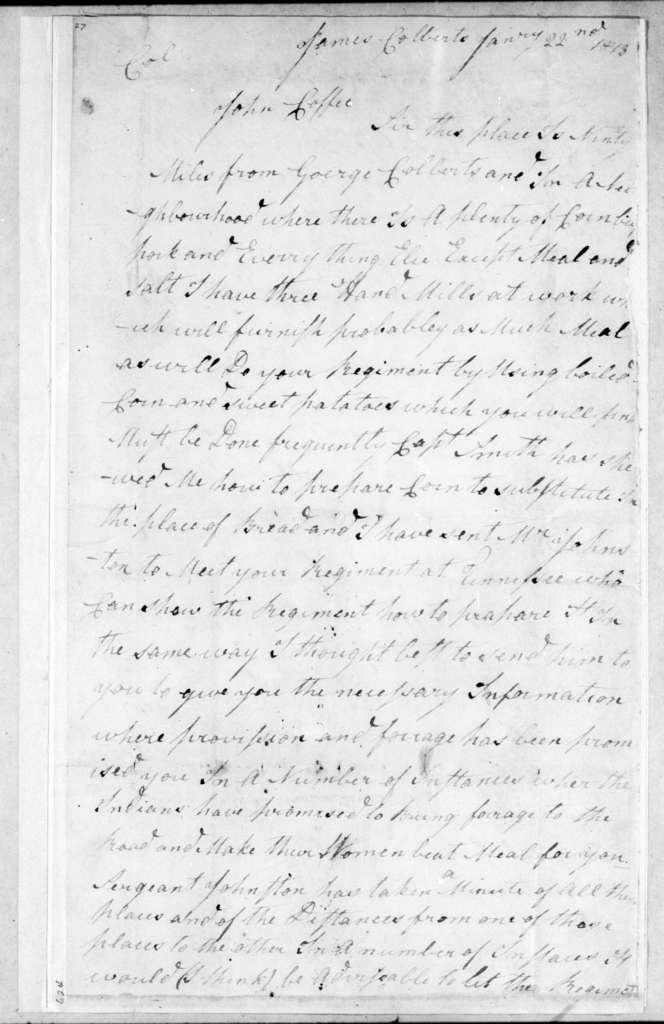 James Henderson to John Coffee, January 22, 1813
