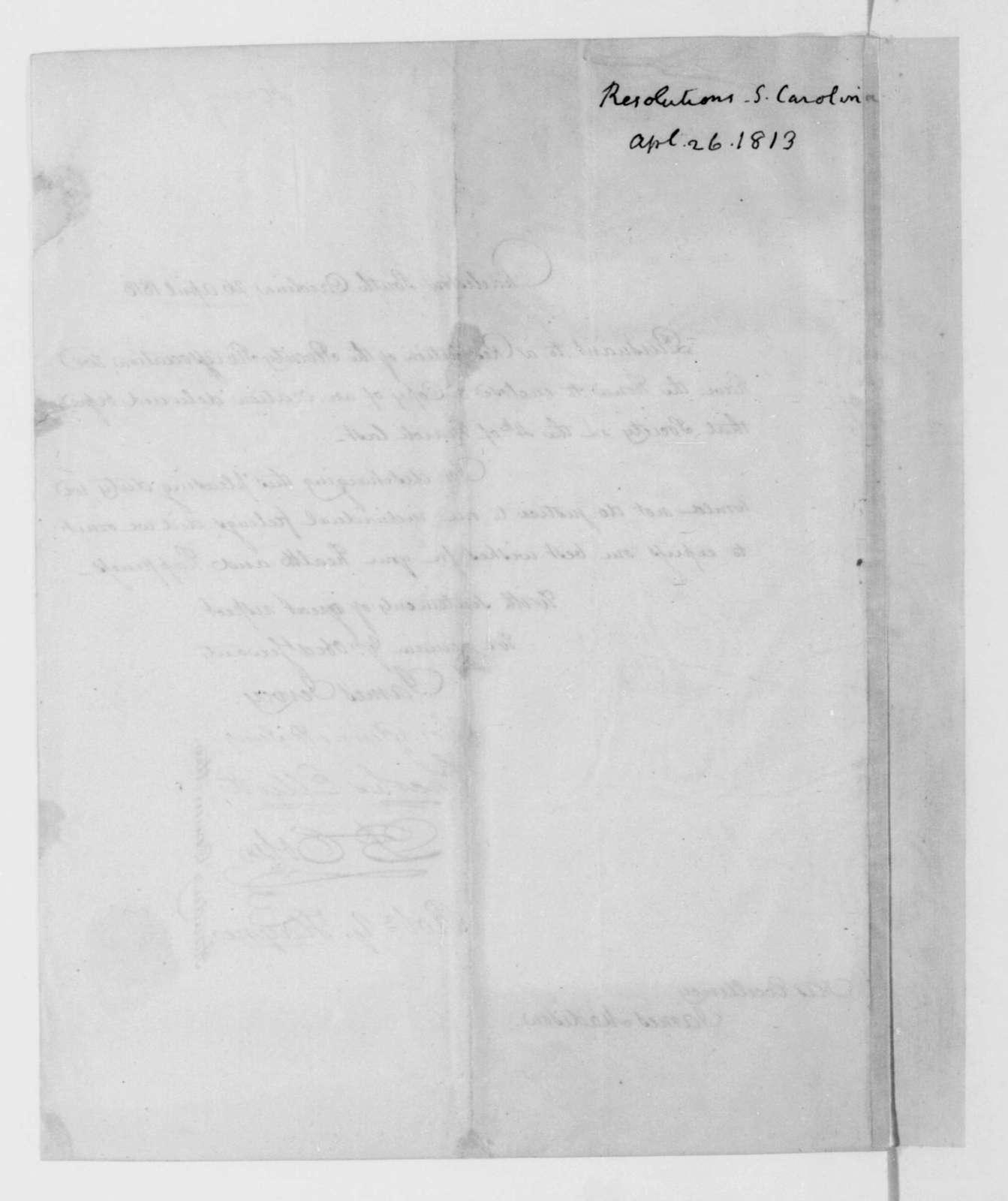 James Jervey to James Madison, April 26, 1813. Transmittal.