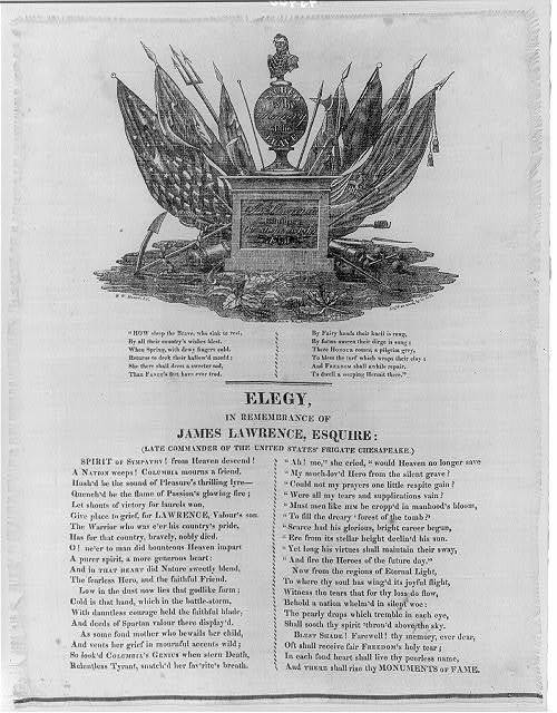 [James Lawrence, 1781-1813--Memorial. Elegy in remembrance of James Lawrence, Esquire: (late commander of the United States frigate Chesapeake)]