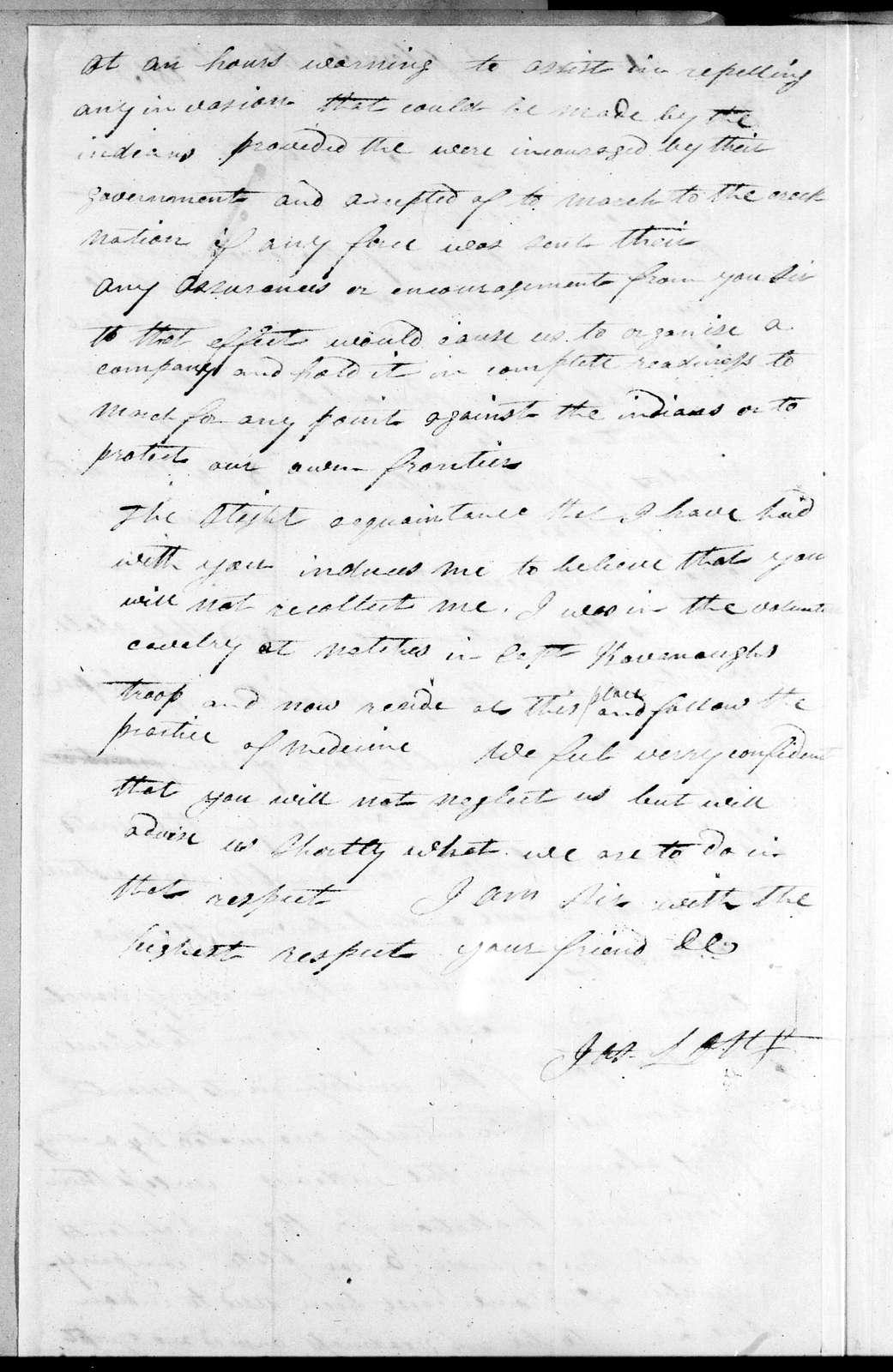 James Long to Andrew Jackson, September 8, 1813