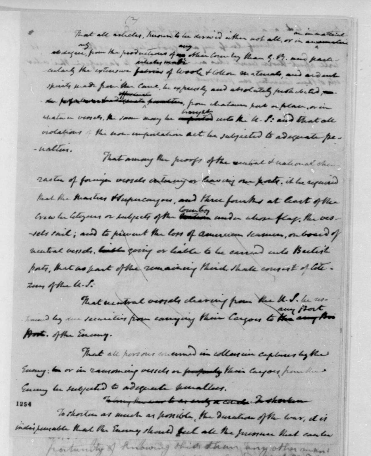 James Madison, December 9, 1813. Draft of message to Congress during the war.