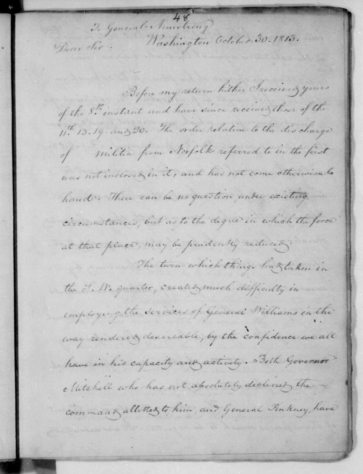 James Madison to John Armstrong, October 30, 1813.