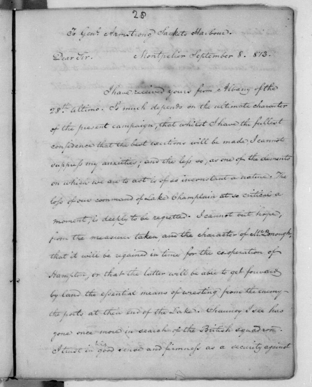 James Madison to John Armstrong, September 8, 1813.