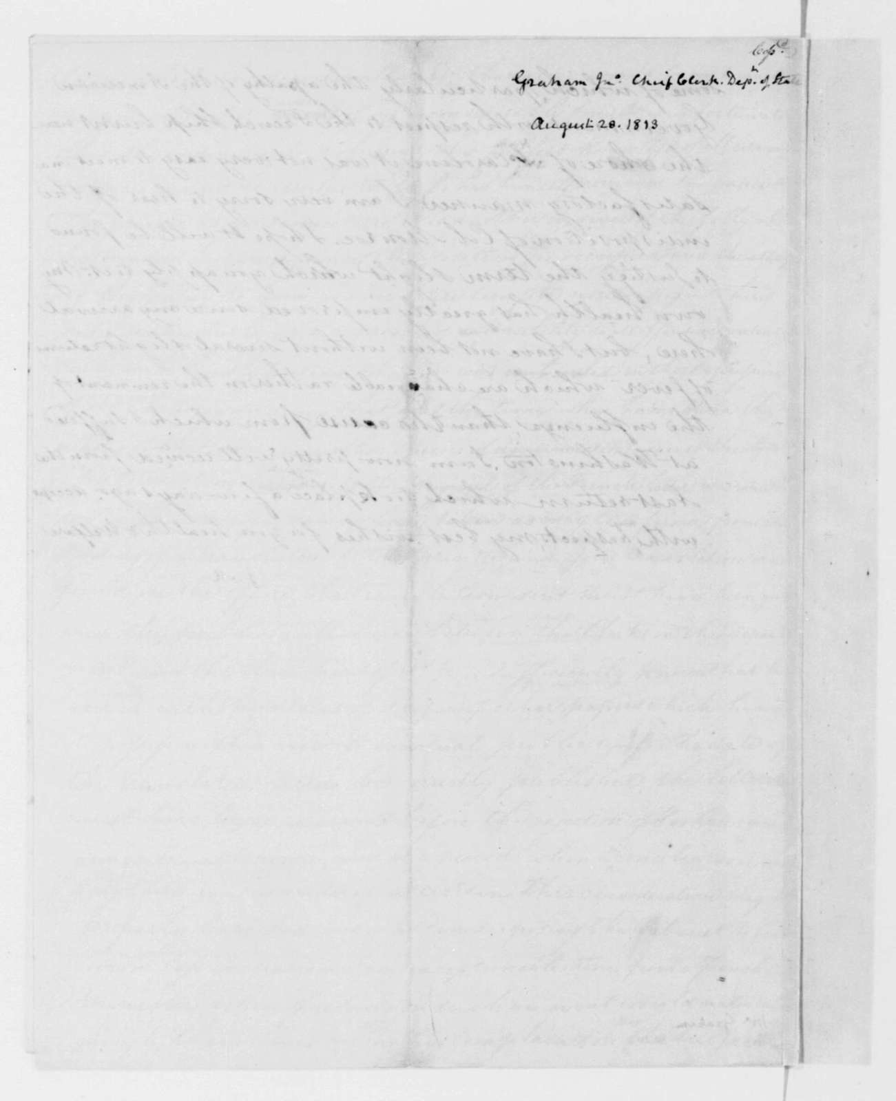 James Madison to John Graham, August 28, 1813. With Copy.