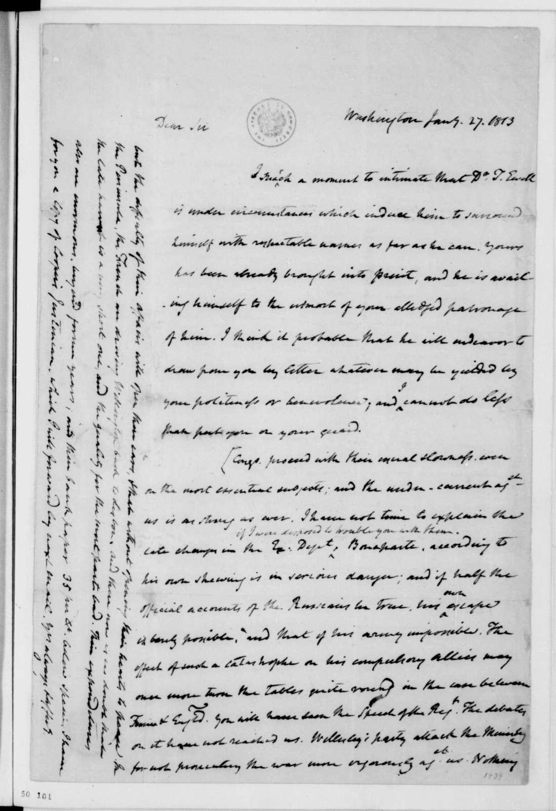 James Madison to Thomas Jefferson, January 27, 1813.