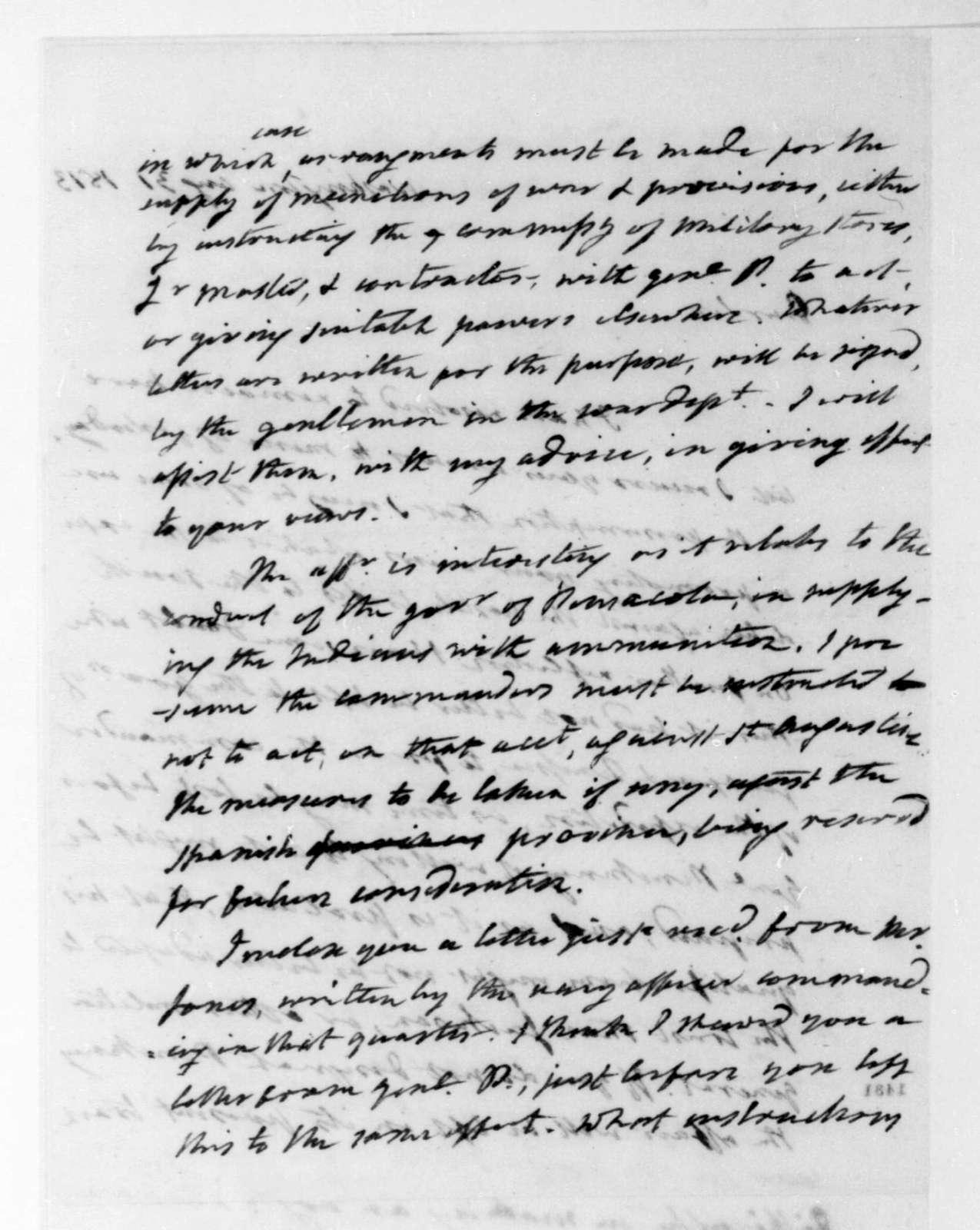 James Monroe to James Madison, August 31, 1813.