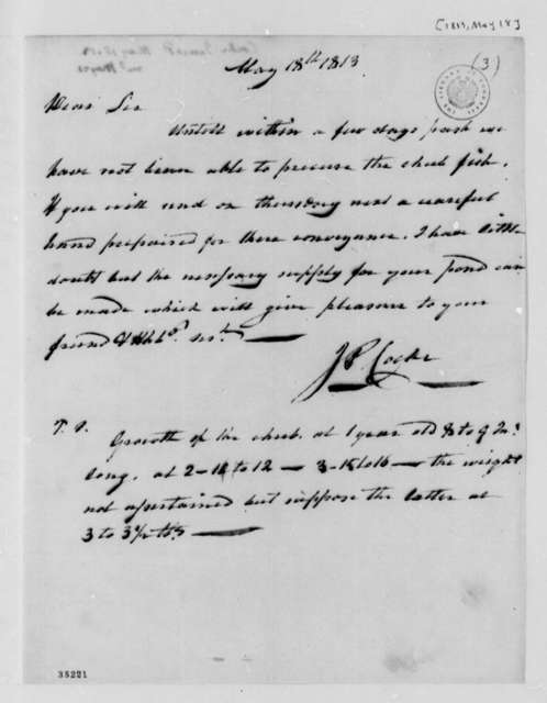 James P. Cocke to Thomas Jefferson, May 18, 1813