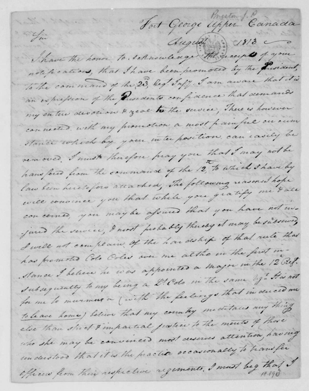 James P. Preston to John Armstrong, August, 1813.