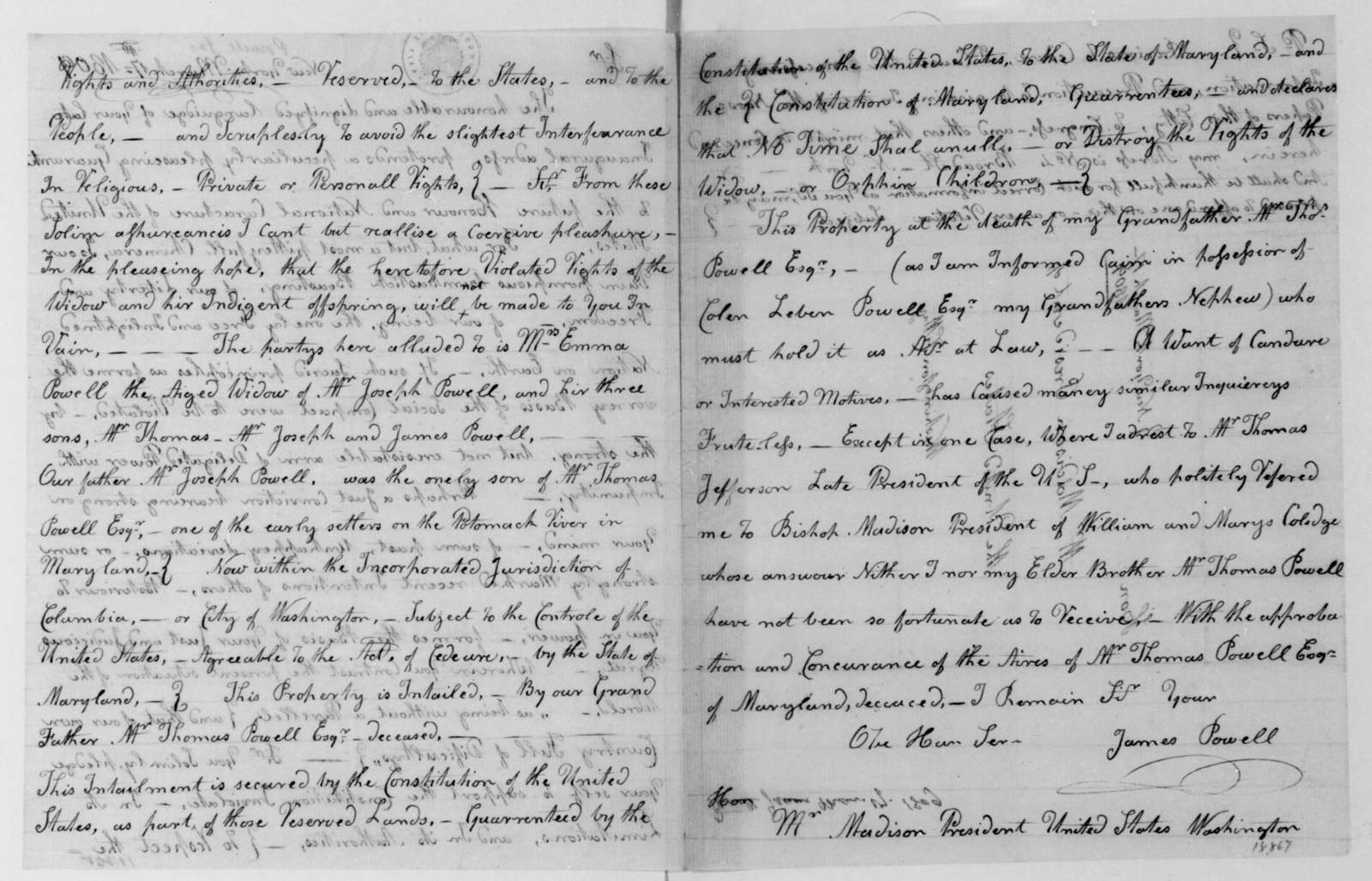 James Powell to James Madison, March 17, 1813.