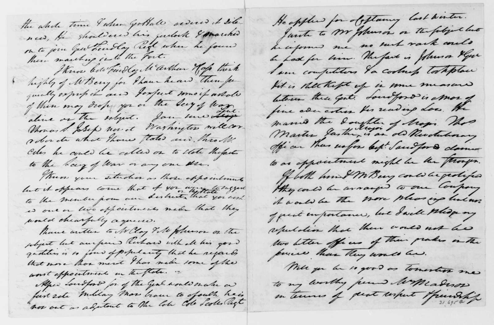James Taylor to James Madison, January 31, 1813.