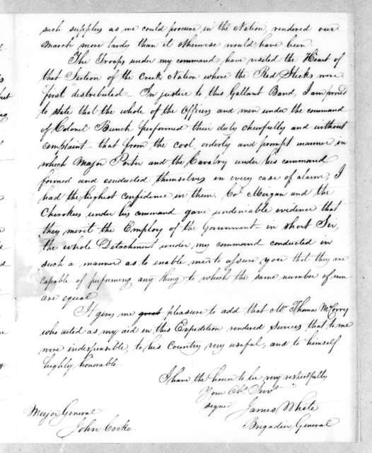 James White to John Cocke, November 24, 1813