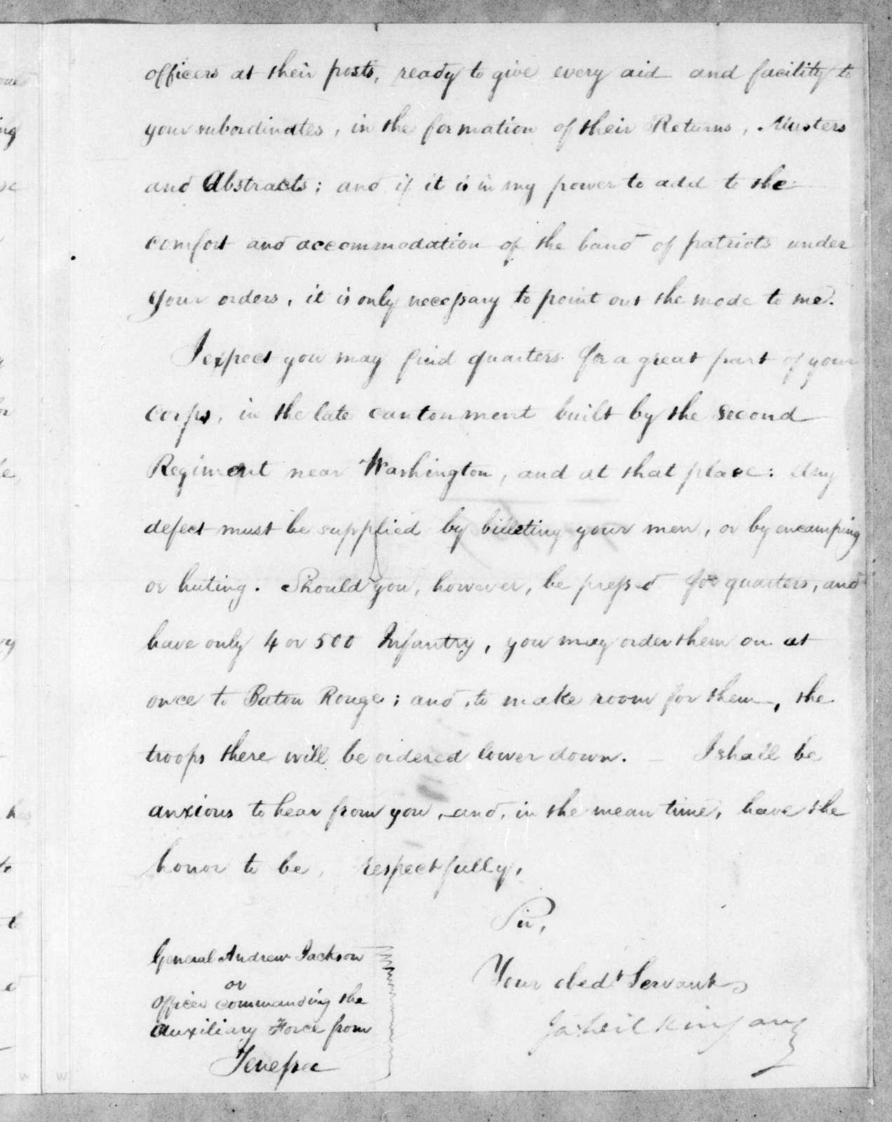 James Wilkinson to Andrew Jackson, January 22, 1813