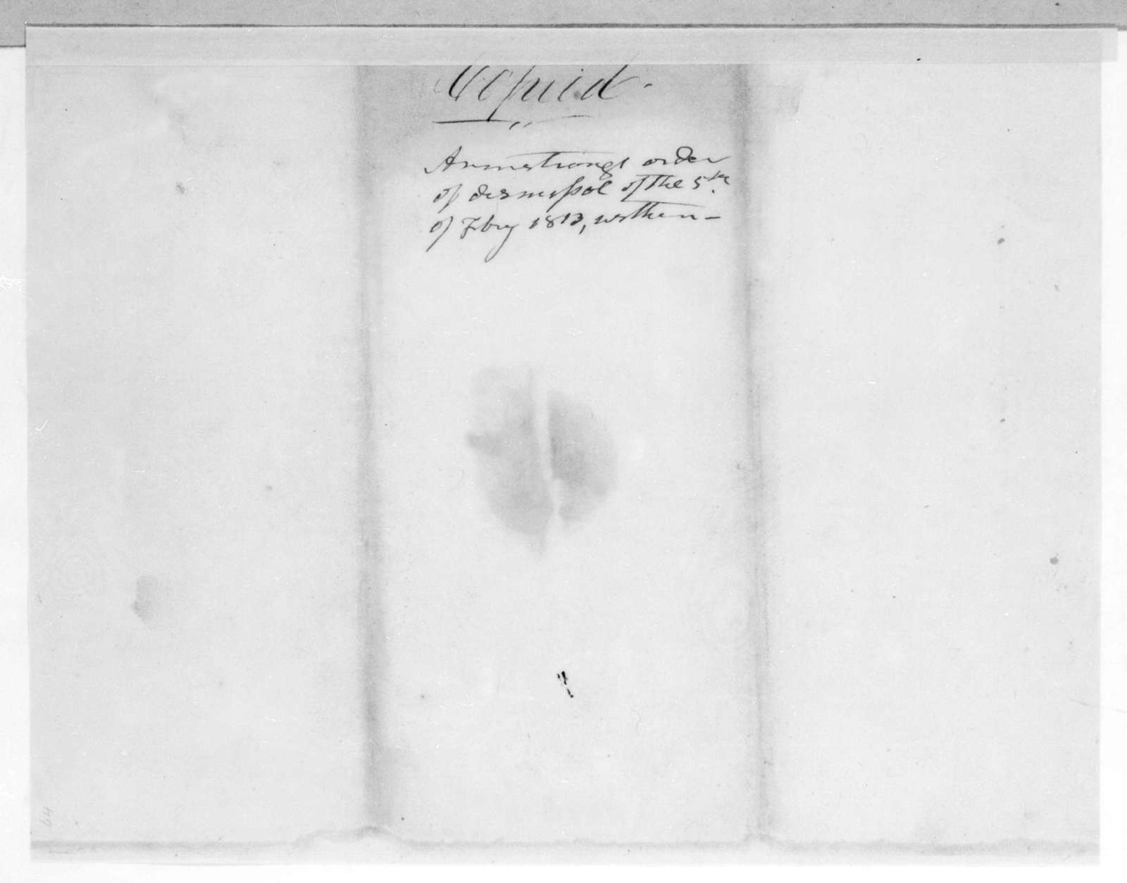 James Wilkinson to Andrew Jackson, March 1, 1813