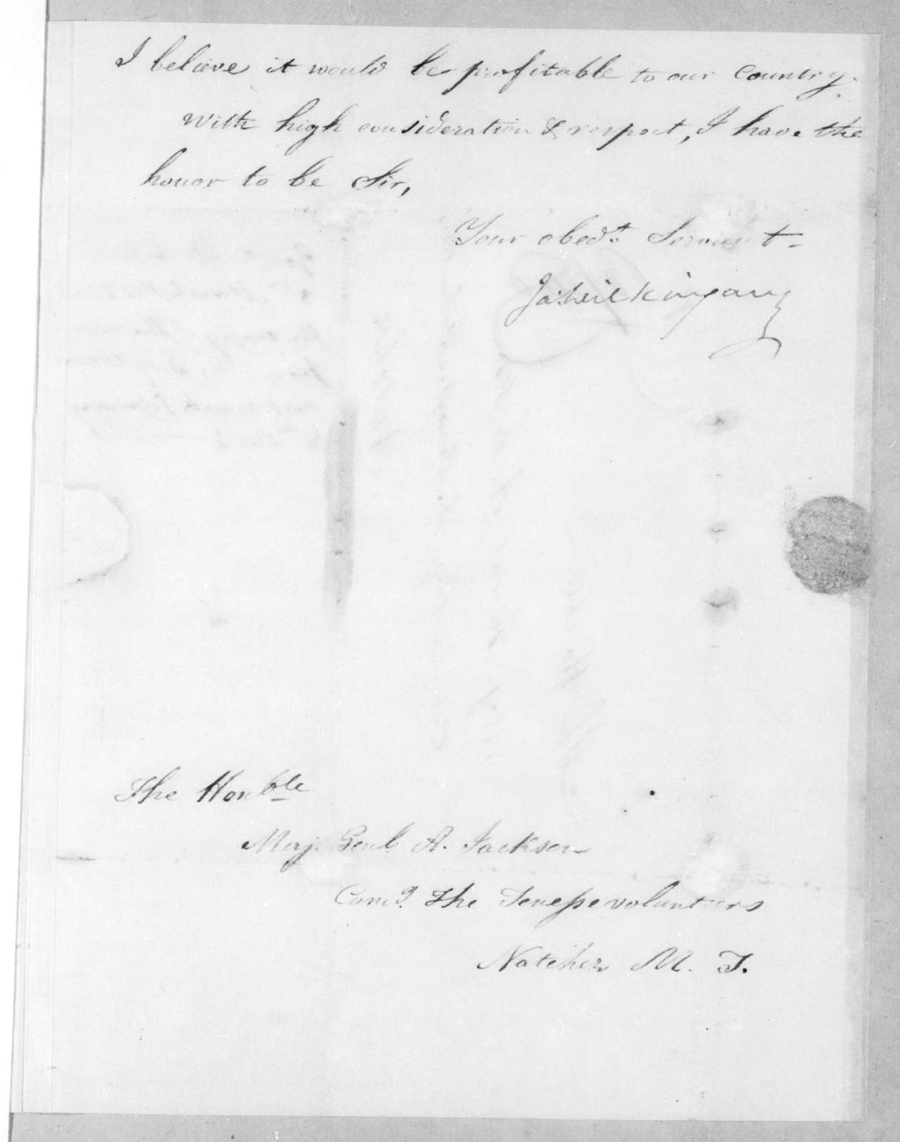 James Wilkinson to Andrew Jackson, March 8, 1813