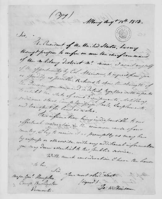 James Wilkinson to W. Hampton, August 15, 1813.