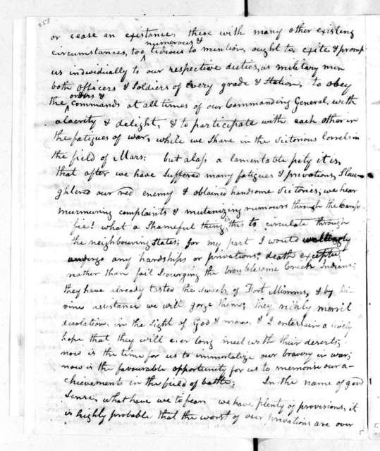 Jesse Denson to Fort Strother Troops, December 9, 1813