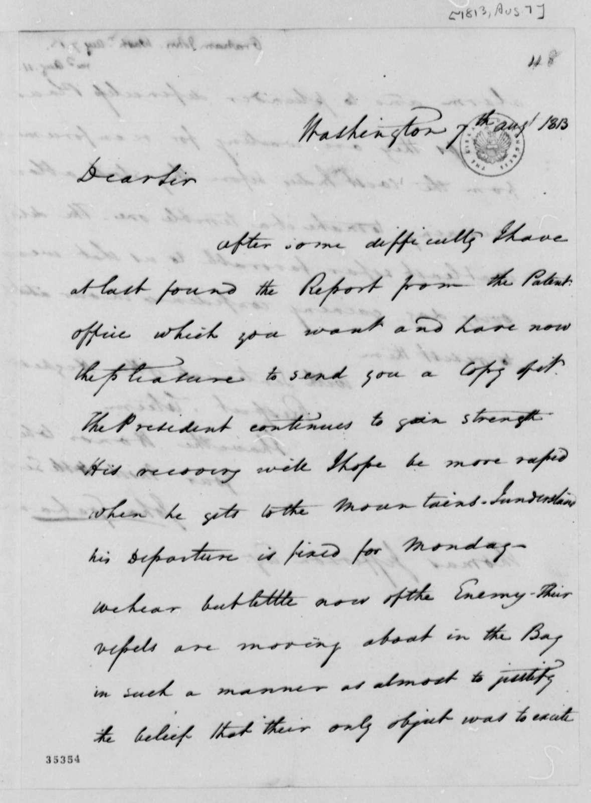 John A. Graham to Thomas Jefferson, August 7, 1813