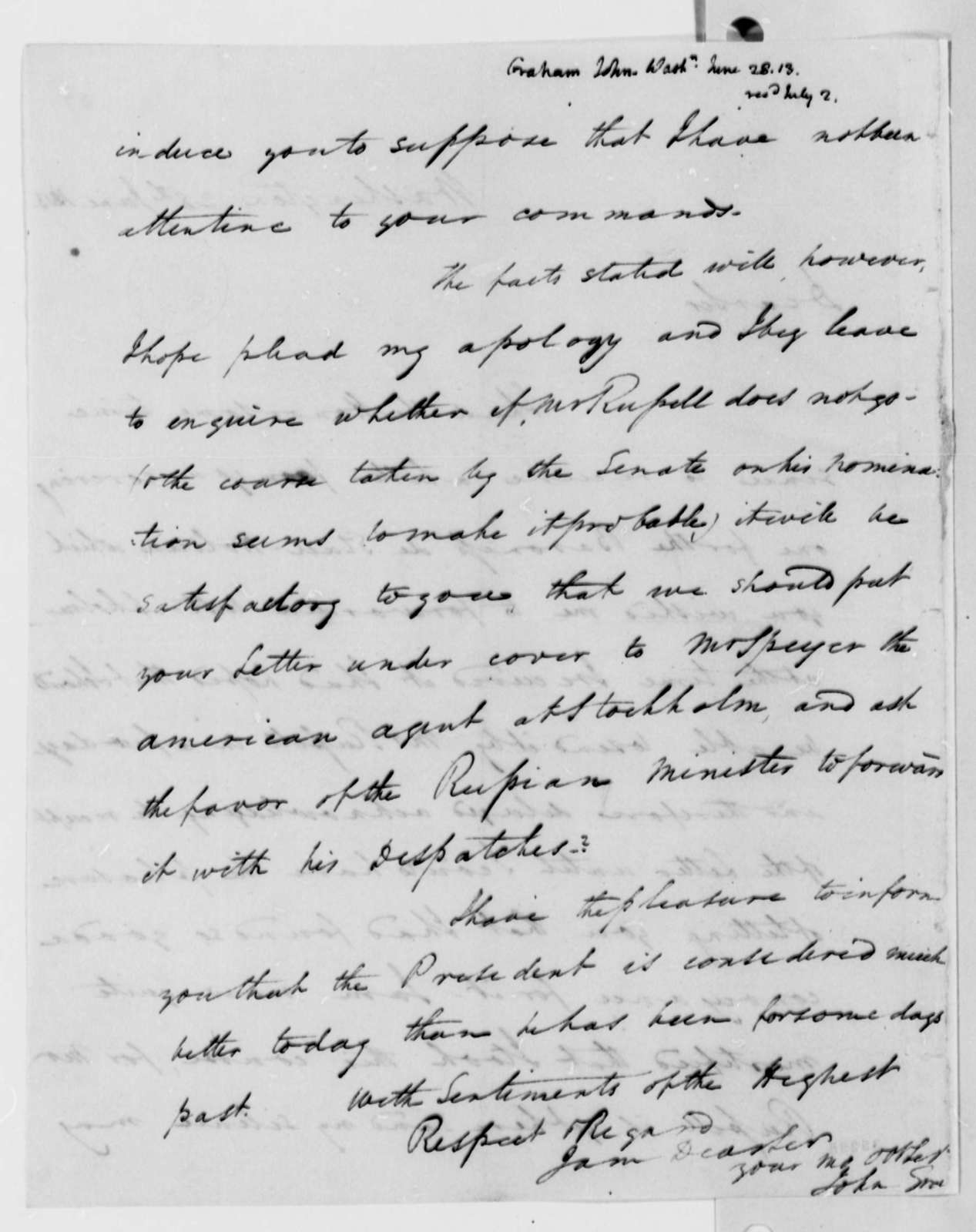 John A. Graham to Thomas Jefferson, June 28, 1813