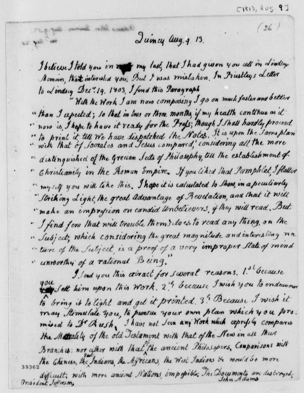 John Adams to Thomas Jefferson, August 9, 1813