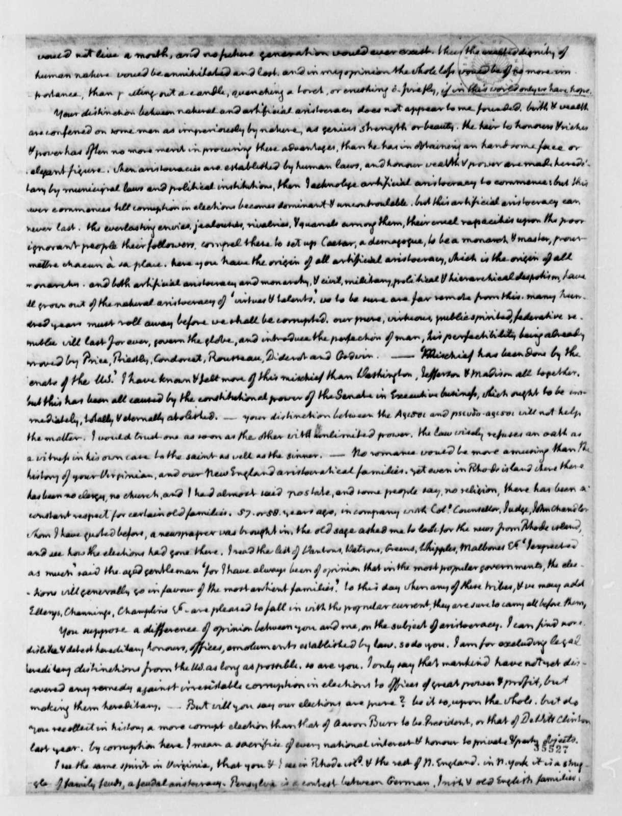 John Adams to Thomas Jefferson, November 15, 1813, Thomas Jefferson Copy