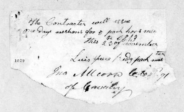 John Allcorn, November 23, 1813