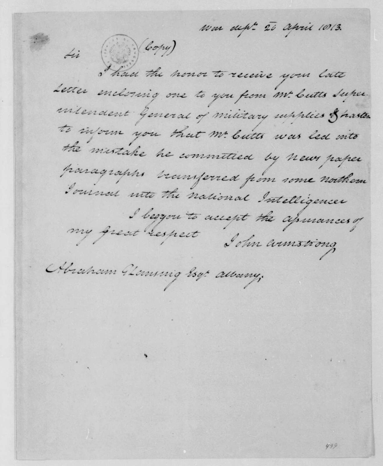 John Armstrong to Abraham G. Lansing, April 20, 1813.