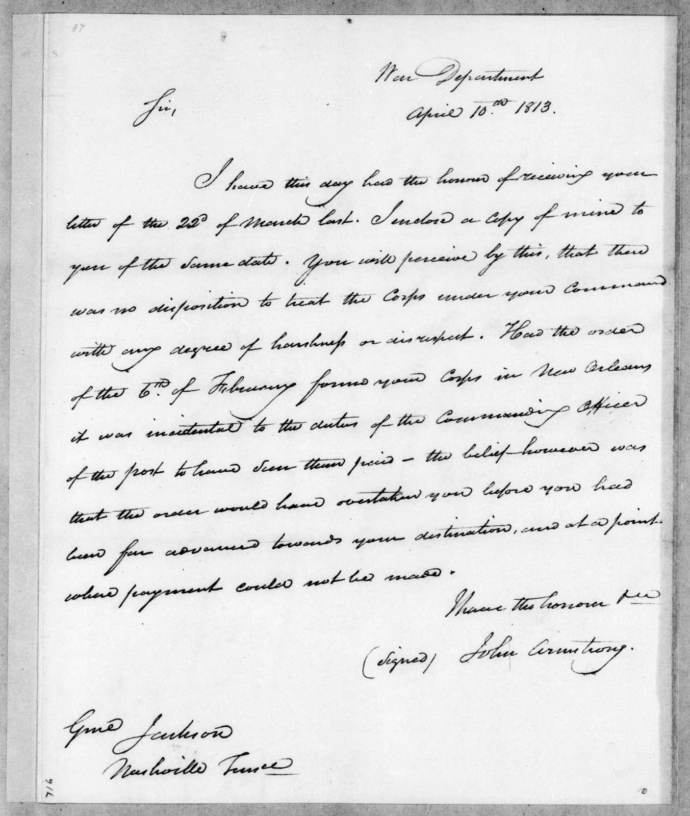 John Armstrong to Andrew Jackson, April 10, 1813