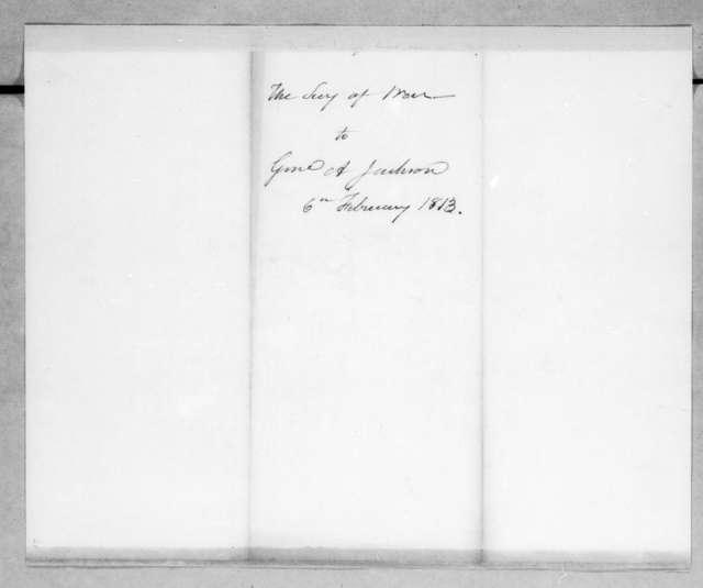 John Armstrong to Andrew Jackson, February 6, 1813