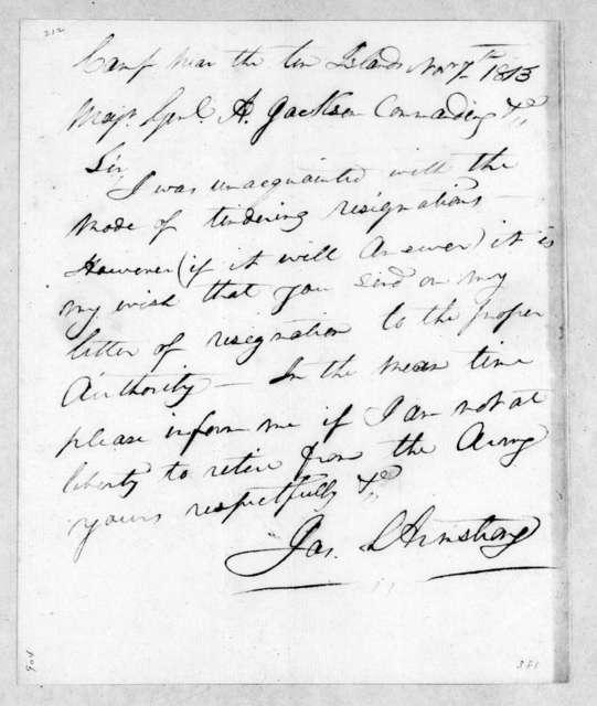 John Armstrong to Andrew Jackson, November 7, 1813