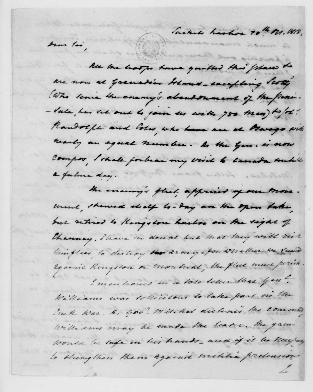 John Armstrong to James Madison, October 20, 1813.