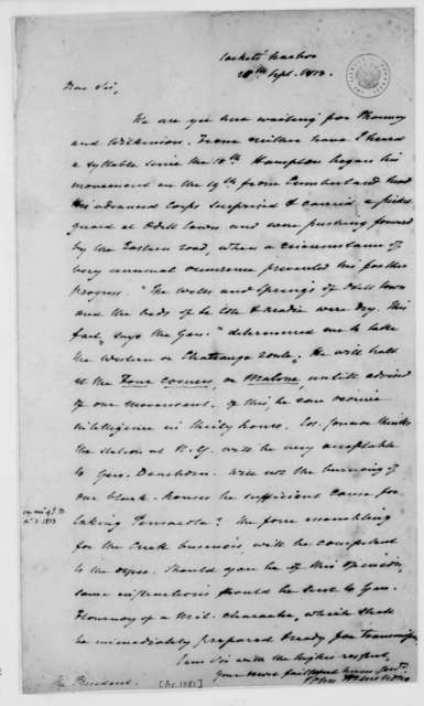 John Armstrong to James Madison, September 26, 1813.