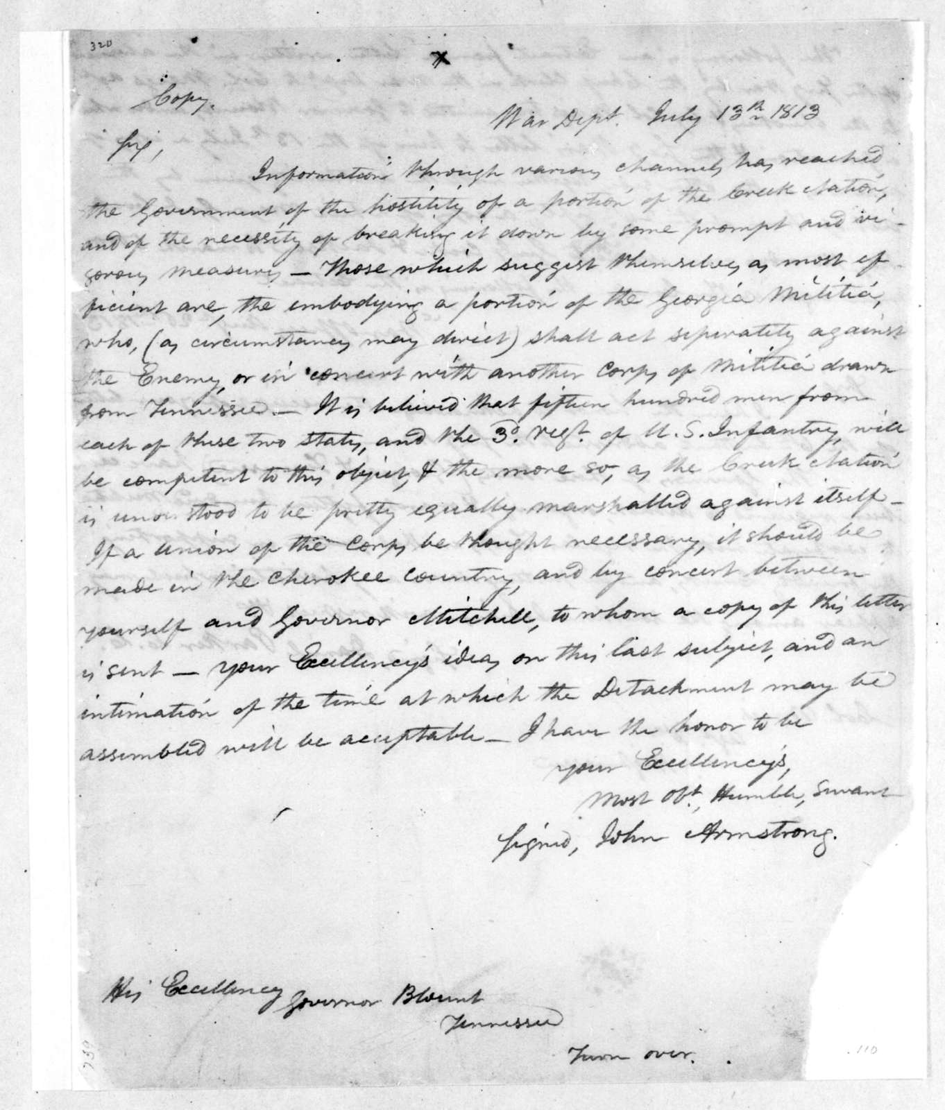 John Armstrong to Willie Blount, July 13, 1813