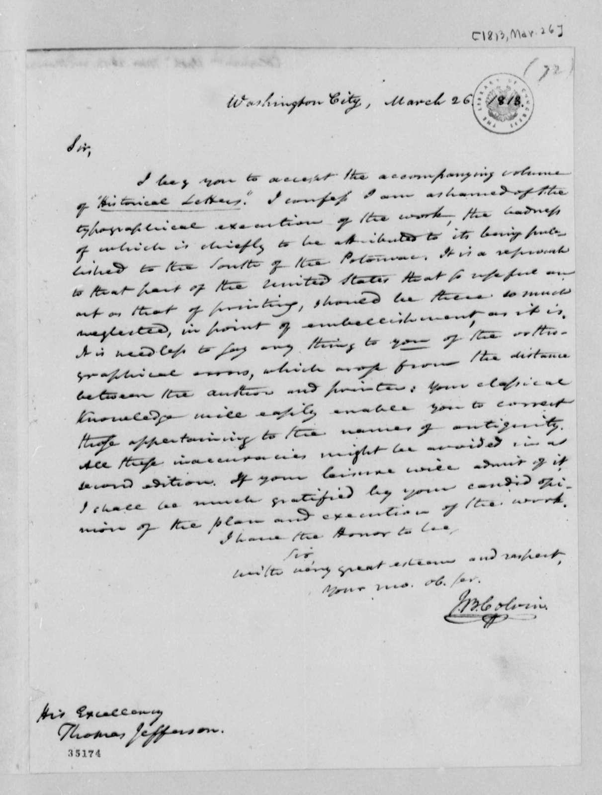 John B. Colvin to Thomas Jefferson, March 26, 1813