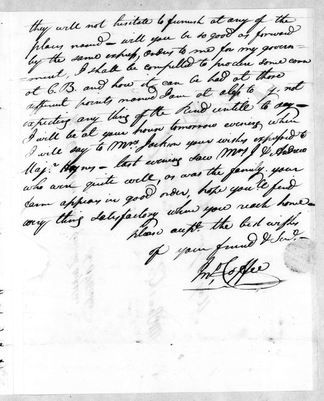John Coffee to Andrew Jackson, April 19, 1813