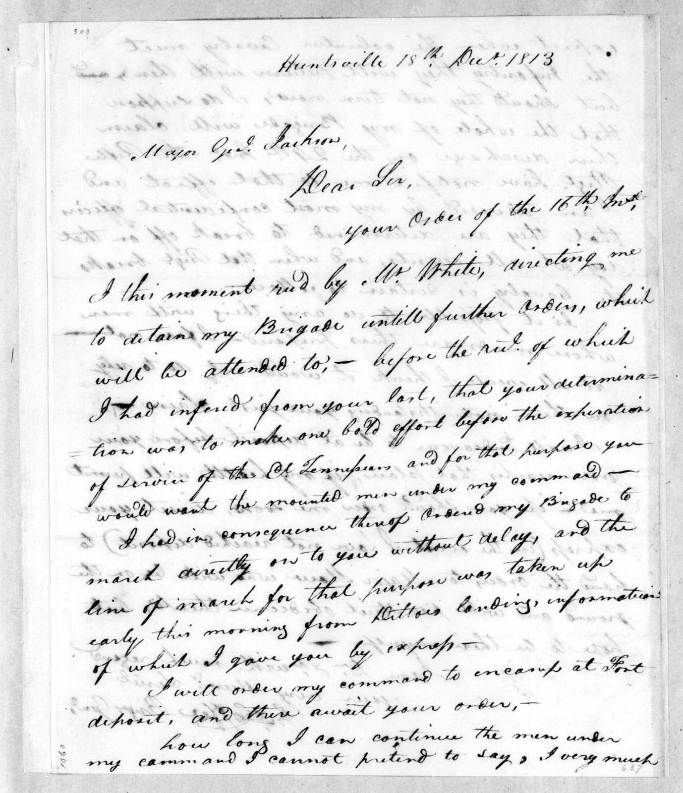 John Coffee to Andrew Jackson, December 18, 1813