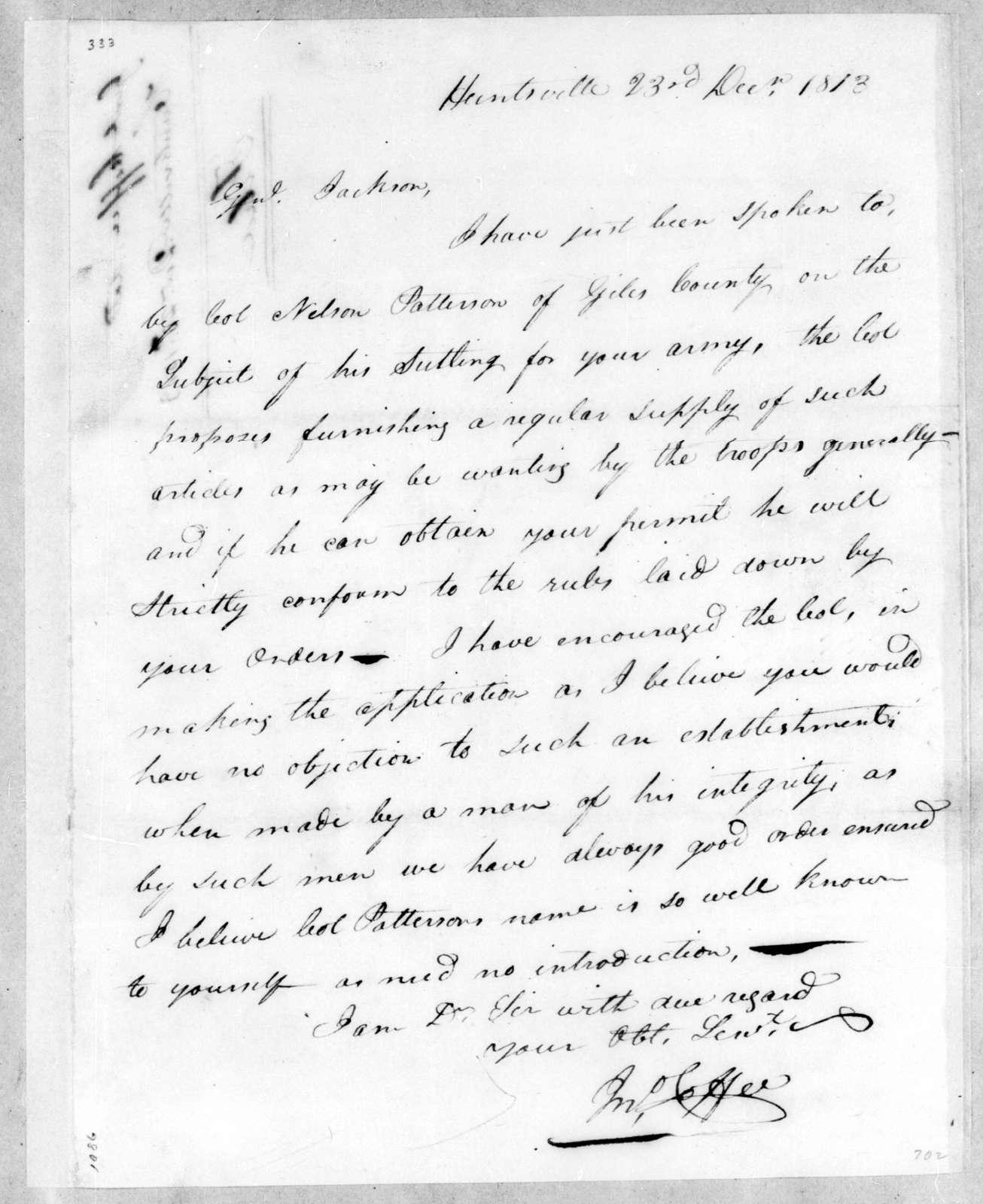 John Coffee to Andrew Jackson, December 23, 1813