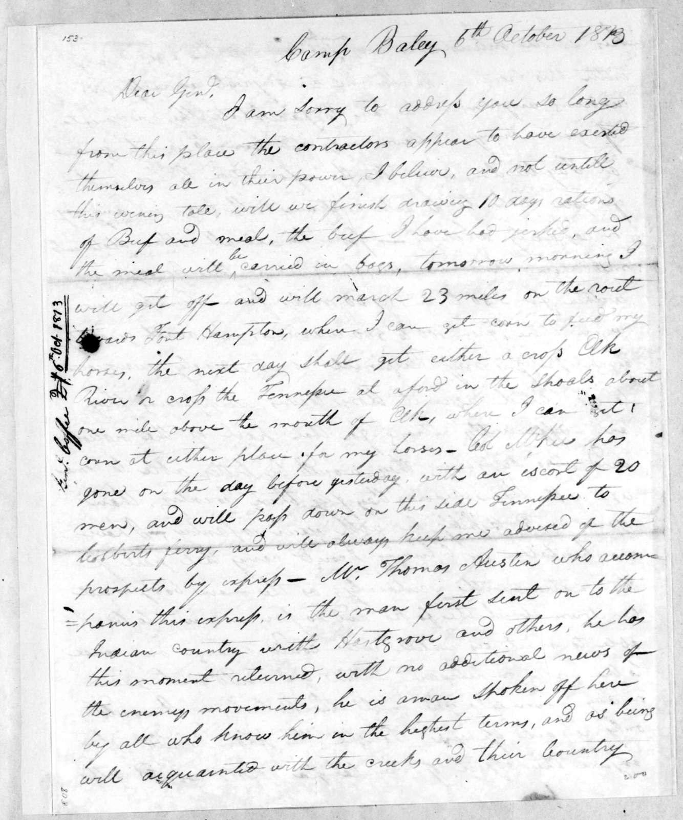 John Coffee to Andrew Jackson, October 6, 1813